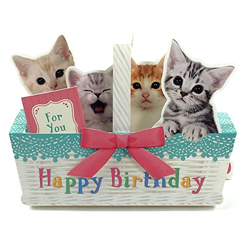 Kitties In Basket Happy Birthday Pop Up Melody Card