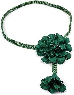 SGJFZD Women's Belt Fashionable Wild Handmade Wax Rope Weave Ethnic Style Big Flower Simple Waist Chain Dress Belt (Color : Green)