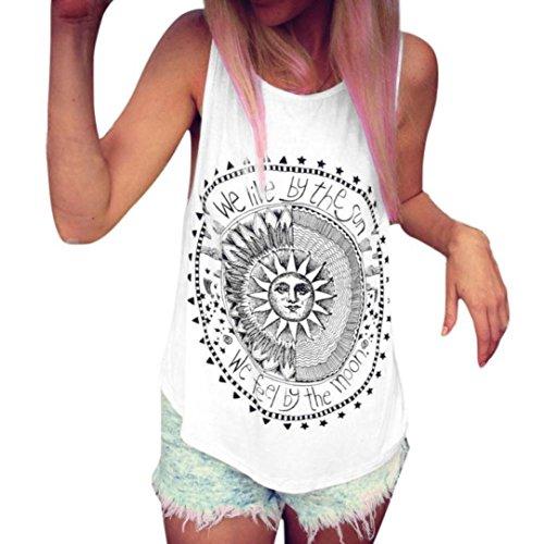 JUTOO Frauen Sonne Gedruckt Bluse Sleeveless Weste T-Shirt Bluse Casual Tank Tops (X-Large, Weiß)