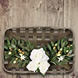 Valery Madelyn Spring Wreath with Square Tobacco Basket, 20 x 13 Inch Artificial Olive Wreath with White Flowers and Green Leaves for Mother's Day, Front Door, Wall, Home and Farmhouse Decorations