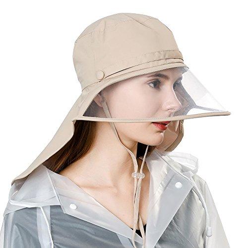Comhats Chapeau de pluie unisexe 100 % étanche pour la marche, le vélo, avec visière et sangle de menton élastique [enlever le film de protection des deux côtés de la visière] - Beige - Medium