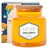 Lemon Verbena Scented Candles, Natural Soy Aromatherapy Candle for Home Scented, Stress Relief Jar Candles with Wooden Lid, Candle Gift for Women