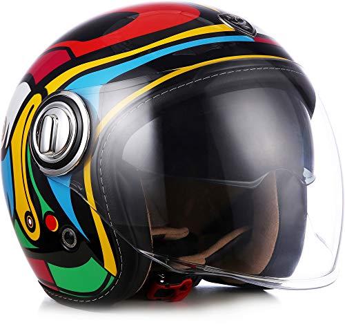 Soxon SP-888 Motorrad-Helm Roller-Helm, ECE Sonnenvisier Schnellverschluss SlimShell Tasche, XL (61-62cm), Art