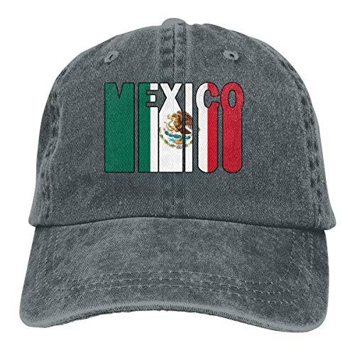 Hoswee Baseballmütze Hüte Kappe Herren Damen Baseball Cap Hut Retro Mexiko Flag-1 Washed Denim Trucker Hut für Herren