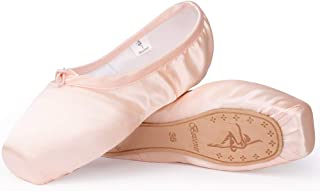 Smartodoors Ballet Shoes Pink Point Ballet Shoes for Girls and Women with Ribbon and Toe Pads
