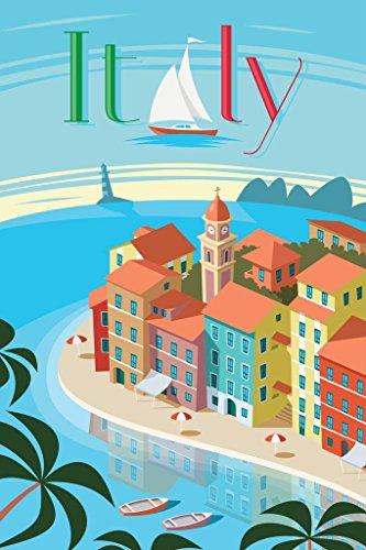 Portofino Italy Retro Travel Art Cool Wall Decor Art Print Poster 24x36
