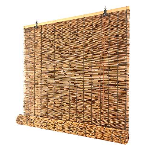 Lidengdeng Sonnenschutz Schilfrollos, Bambusrollo Bambus Rollo In Natur, Retro Bambus Rollo Raffrollo, Verdunkelungsvorhang, Wetterfester Jalousine, Balkonsichtschutz