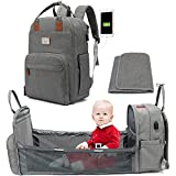 Diaper Bag Backpack with Changing Station, 3 in 1 Diaper Bag Travel Bassinet with Auto Foldable Baby Crib, Waterproof Portable Baby Bed Diaper Backpack with Changing mat, with USB Charging Port (Grey)