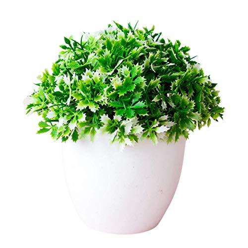 Halb Jasmin Bonsai Simulation Topfpflanze Plastik Jasmin Topfkünstliche Pflanze mit Topf Realistische und schöne Pflanze Für Home Office Hochzeitsfest Dekoration Grün Weiß TINGG