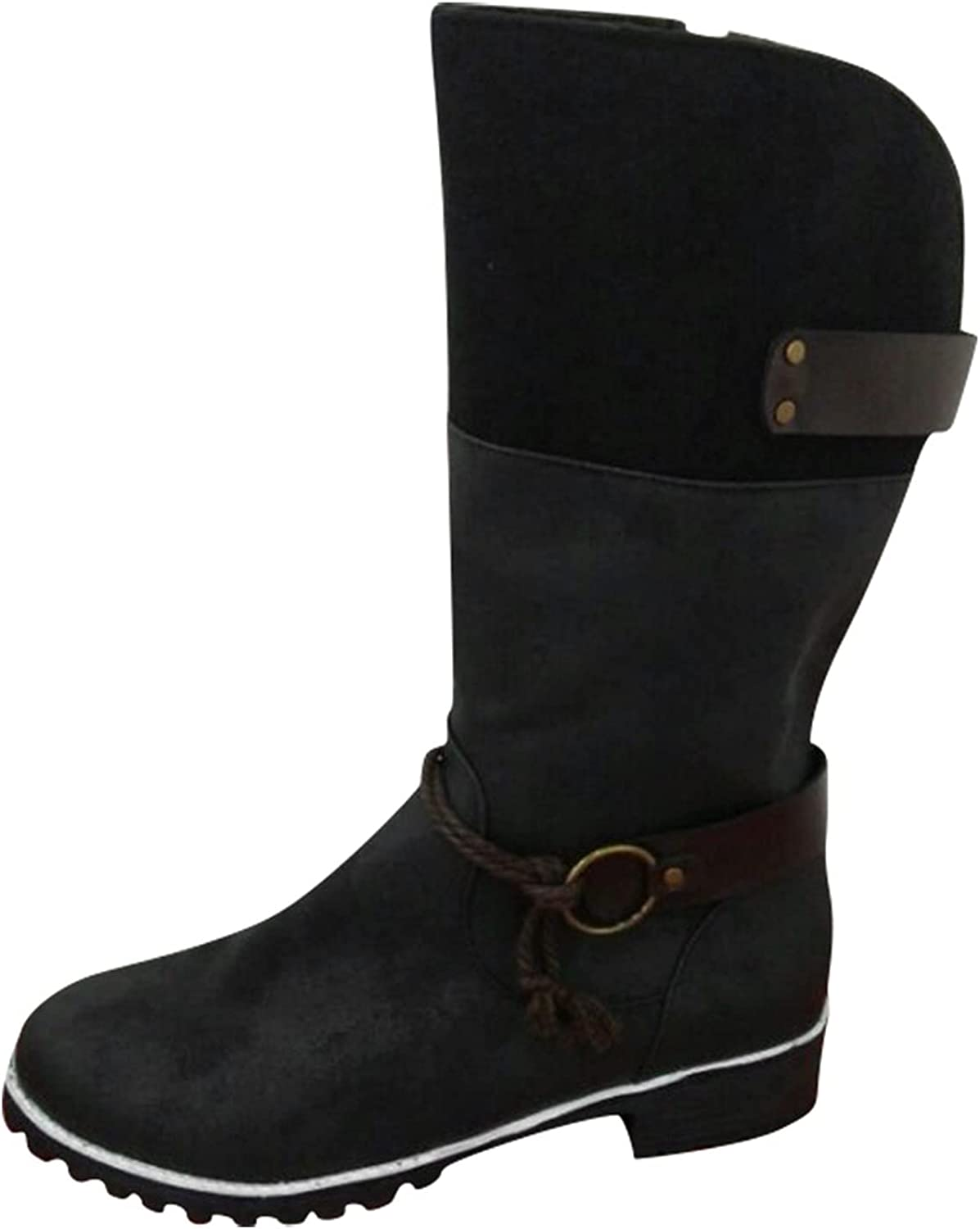 Hemlock Women Retro Mid Calf Boots Round Toe Flat Shoes Winter Snow Boots Knight Boots Combat Western Shoes
