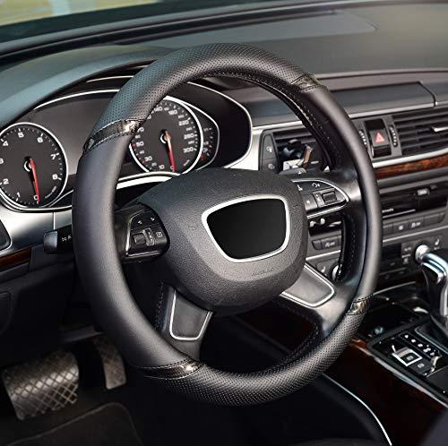 ZHOL Universal 15 inch Microfiber Leather Auto Car Steering Wheel Cover, Black