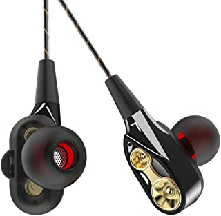 shiYsRL Wired Earphones Fashion Dual Drivers Hifi Sound In Ear Headset Earphones For Phone Tablet One Size Black