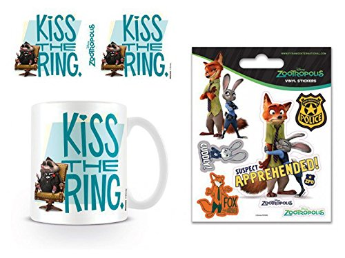 1art1 Zoomania, Kiss The Ring Foto-Tasse Kaffeetasse (9x8 cm) Inklusive 1 Zoomania Poster-Sticker Tattoo Aufkleber (12x10 cm)