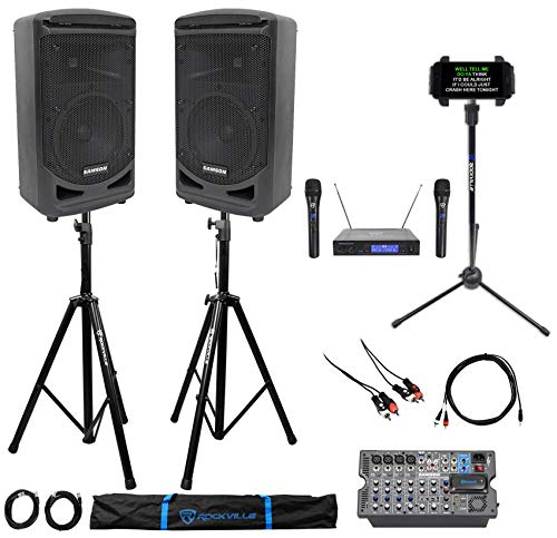 Great Features Of Samson 8 Portable YouTube Karaoke Machine/System+2 Mics+8-Ch Mixer+Tablet Stand