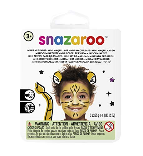 Snazaroo 1172081 Kinderschminke Mini Set Tiger, 3 Schminkfarben, Farben: Gelb, Weiß, Schwarz, 1 Pinsel, 1 Schwämmchen