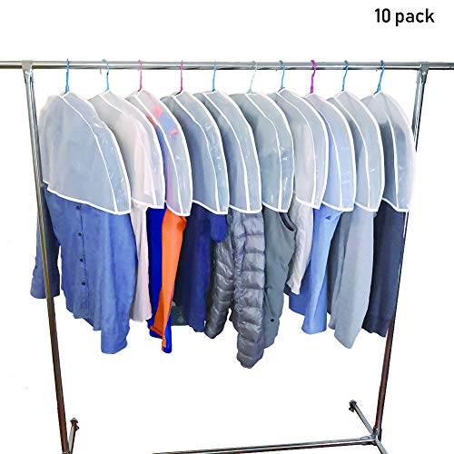 """pekox 10Pack (24""""x11""""x2"""") Storage Travel Shoulder Covers for Clothes Clothing dust Cover Dust Bags Cover Dress Bag Hanging Garment Bag US"""