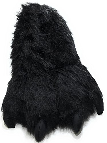 Wild Ones Furry Animal Claw Slippers for Toddlers, Kids and Adults (Large, Black Bear)