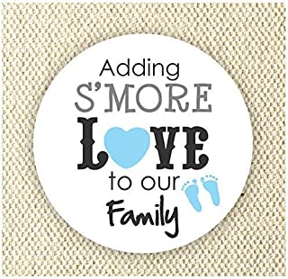 Adding S'more Love to our Family Stickers - Baby Boy Shower Stickers - Thank you for Celebrating with me Labels - Set of 40 stickers