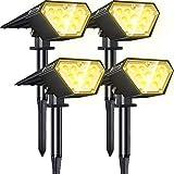 Biling Focos solares para exteriores,2 en 1 luces solares para paisajes,12 bombillas LED, IP67 luces solares impermeables, luz de pared ajustable para patio, jardín,piscina-blanco cálido...