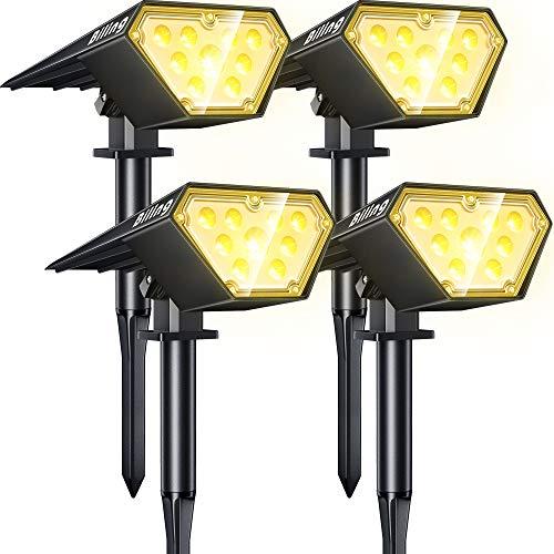 Biling Focos solares para exteriores,2 en 1 luces solares para paisajes,12 bombillas LED, IP67 luces solares impermeables, luz de pared ajustable para patio, jardín,piscina-blanco cálido (4 unidades)