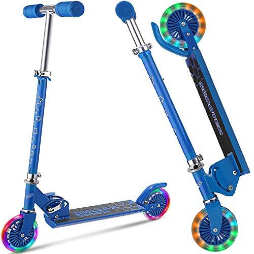 DaddyChild Scooter für Kinder im Alter von 3–10 Jahren mit 2 leuchtenden PU-Rädern, 3 höhenverstellbaren Kinder-Rollern, 2 Rädern für Mädchen und Jungen, leicht, zusammenklappbar, Tragkraft 110 Lb