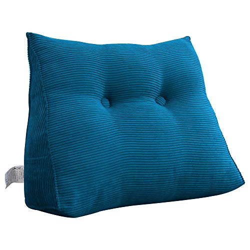 VERCART Headboard Reading Pillow Large Backrest Bolster Triangular Upholstered Positioning Support Wedge Cushion for Day Bed Single Bed with Removable Cover Corduroy Royal Blue 80cm