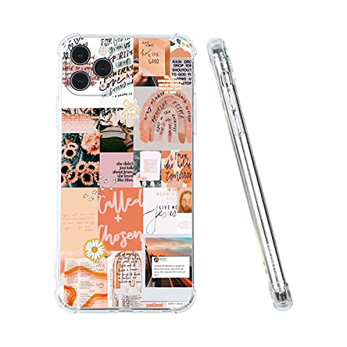 Aesthetic Phone Case for iPhone 11,Christian Positivity Motivational Aesthetic Collage Phone Case for Girls Women Cool Trendy Design Shockproof Soft TPU Gift Cover Case for iPhone 11