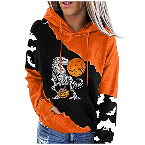 Hoodies for Womens Drawstring Print Pullover Sweatshirts Long Sleeve Pocket Sweater Autumn Winter Casual Oversized Tops