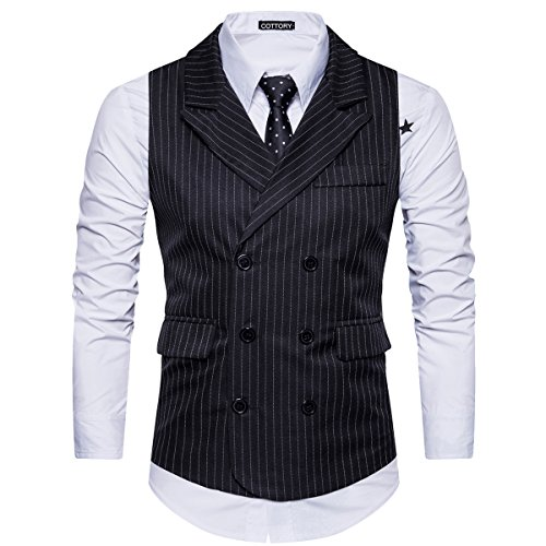 Cottory Men's Classic Stripes Slim Fit Double-breasted Tailored Collar Suit Vest Black Large