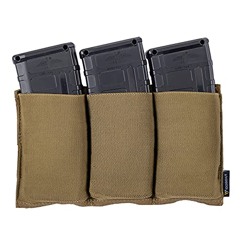 IDOGEAR Triple Mag Pouch Elastic Molle Magazine Pouches Open-top Carrier for M4/M16/AR/AK Rifle Magazines (Coyote Brown)