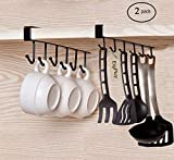 EigPluy 2pcs Mug Hooks Cups Wine Glasses Storage Hooks Kitchen Utensil Ties Belts and Scarf Hanging Hook Rack Holder Under Cabinet Closet Without Drilling,Black