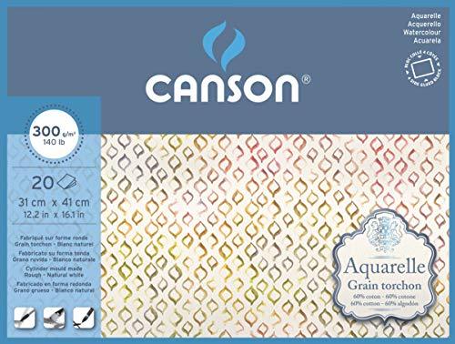 Bloc Encolado a 4 Lados, 31x41 cm, 20 Hojas, Canson C400106444 Aquarelle 60% Algodón, Grano Grueso 300g