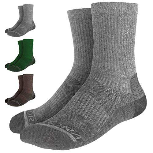 Rymora Walking Socks Hiking Socks Men Women (Merino Wool, Moisture Wicking, Seamless Toe) (One Pair - Grey) [M] (Medium: UK 7-10 / EU 40-44)