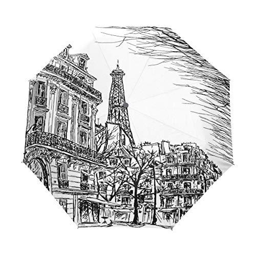 DUILLY Automatischer Regenschirm zum Öffnen/Schließen,Pariser Straße mit Bäumen und Eiffel berühmten Stadtlandschaft zu skizzieren,Winddichter, wasserdichter, Leichter, zusammenklappbarer