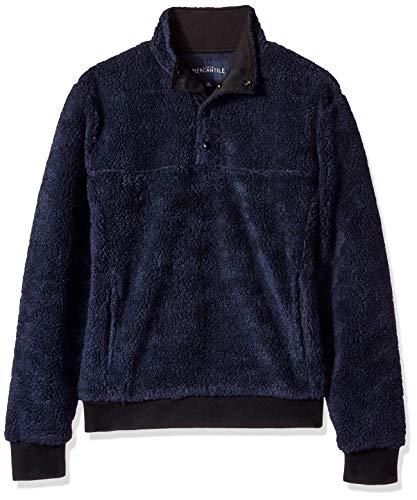 J.Crew Mercantile Herren Sherpa Fleece Mock Neck Pullover Sweatshirt, Navy, X-Small