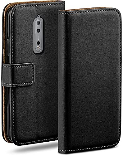 moex Klapphülle kompatibel mit Nokia 8 Hülle klappbar, Handyhülle mit Kartenfach, 360 Grad Flip Hülle, Vegan Leder Handytasche, Schwarz