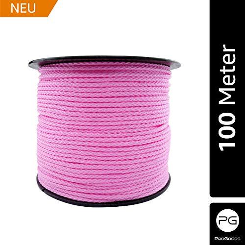 ProGoods Polypropylen-Schnur Seil 2mm, Bindfaden, Bastelschnur, Packschnur, reißfest, unverrottbar, Kunstfaser, wetterfest, feuchtigkeitsbeständig, robust, zum Verschnüren, Befestigen (Pink 100m)