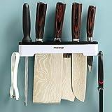 Wall Mounted Knife Holder, Kitchen Knife Storage Rack Non-Perforating Adhesive Knife Rack for Kitchen Organization Storage (Black)