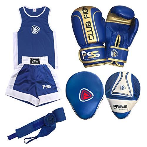 Prime Leather PSS Ultimate - Juego de 4 piezas de boxeo para niños, uniforme, gimnasio, ejercicio, parte superior corta de 3 a 14 años + almohadilla de enfoque 1103, guantes de boxeo para niños, talla 1006, 4 onzas + muñequera de color azul, 1103 Blue, 11-12 Años