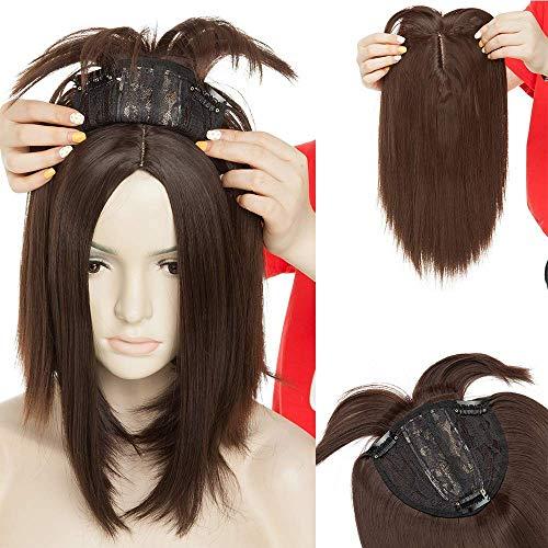Clip in Extensions Haarteil Topper Toupet wie Echthaar Perücken mit 3 Clips für Frauen Glatt Mittel braun-1 11