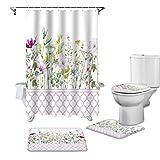 ZHEXI Badezimmer Duschvorhang & Teppich Set Rosa marokkanische Frühlingsblume Vanille WC-Deckelbezug Badematte Wasserdicht Duschvorhang-Set