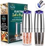 JOBKIM Gravity Electric Pepper Grinder set of 2, Automatic Salt and Pepper Mill Grinder, Battery...