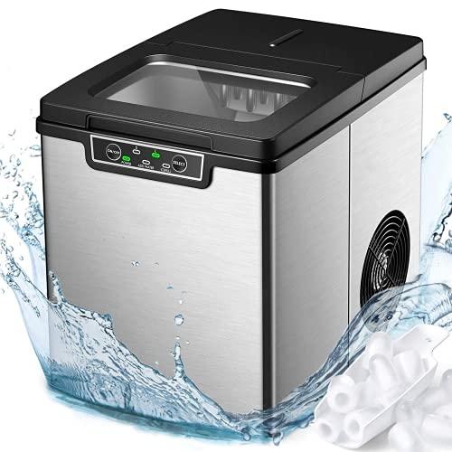 Eiswürfelmaschine mit Selbstreinigung, 13kg pro Tag, 6 Minuten Produktionszeit, 2 Eiswürfel-Größen, 2.2L, Leise DC-Fan, Edelstahl Ice Maker Eiswürfelbereiter ohne Wasseranschluss