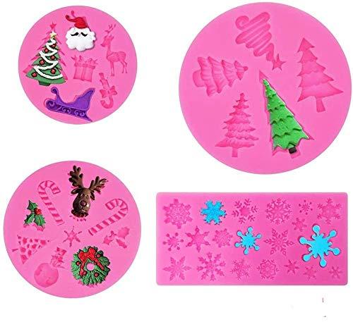 SDFD Moldes de Silicona en Forma de árbol de Navidad 3D 4 Piezas Moldes de Silicona para Fondant de Navidad para Dulces/Chocolates/Dulces/pudines