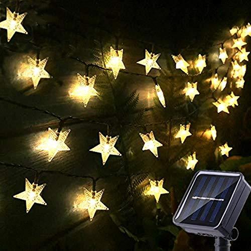 Chipark Solar Star String Lights Garden, 50 LED Star Fairy Lights Outdoor Solar Powered Led Star String Light Waterproof 8 Modes Decorative Light for Garden Patio Yard Wedding Party 23ft(Warm White)