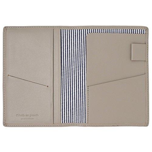 スリップオン パスポートケース ノワール 革 グレージュ NSL-2801