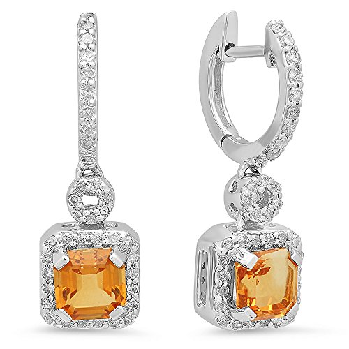 14 ct White Gold Asscher Citrine & Round Cut White Diamond Ladies Halo Style Dangling Earrings