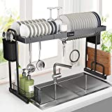 "Over Sink Dish Rack, G-TING Expandable Dish Drying Rack (27.5""- 33.5""), Large Dish Drainer Shelf with Utensil Holder, Over the Sink Kitchen Stainless Steel Storage Rack Space Saver Display Stand"