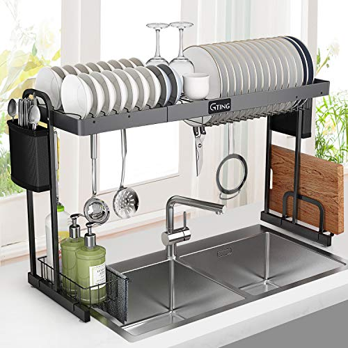 Over Sink Dish Rack, G-TING Expandable Dish Drying Rack (27.5- 33.5), Large Dish Drainer Shelf with Utensil Holder, Over the Sink Kitchen Stainless Steel Storage Rack Space Saver Display Stand