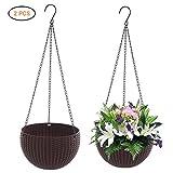 Laduup - Maceta colgante, 2 unidades, para plantas, de estilo macramé, algodón, apta para interiores y exteriores, con triple colgante